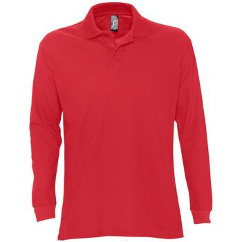 Textil Muži Polo s dlouhými rukávy Sols STAR MODERN MEN Rojo