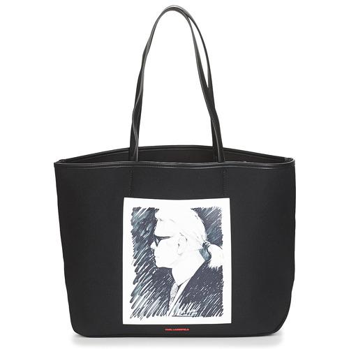 Taška Velké kabelky / Nákupní tašky Karl Lagerfeld KARL LEGEND CANVAS TOTE Černá