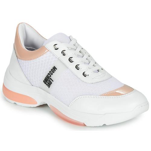 Boty Ženy Nízké tenisky Love Moschino RUN LOVE Bílá / Růžová