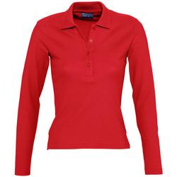 Textil Ženy Polo s dlouhými rukávy Sols PODIUM COLORS Rojo
