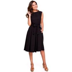 Textil Ženy Šaty Style S161 Plisované šaty se zavinovacími zády - černé