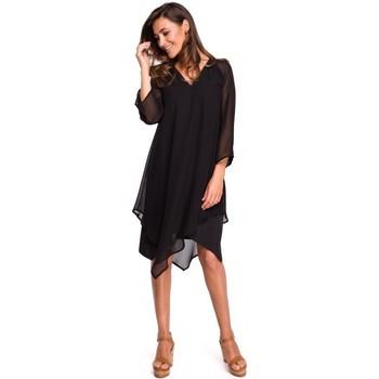 Textil Ženy Šaty Style S159 Šifonové šaty s asymetrickým lemem - černé