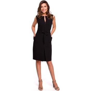 Textil Ženy Mikiny Style S158 Pouzdrové šaty bez rukávů s předním sklady - černé