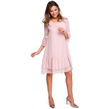 Textil Ženy Společenské šaty Style S160 Šifonové nařasené boho šaty - pudrové
