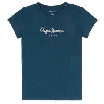 Textil Dívčí Trička s krátkým rukávem Pepe jeans HANA GLITTER Tmavě modrá
