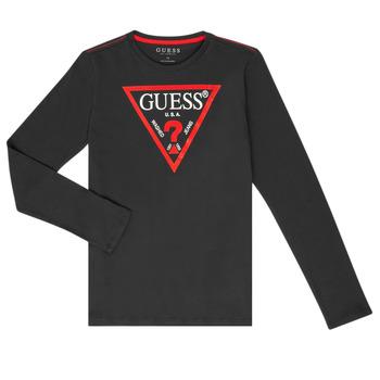 Textil Chlapecké Trička s dlouhými rukávy Guess HERVE Černá