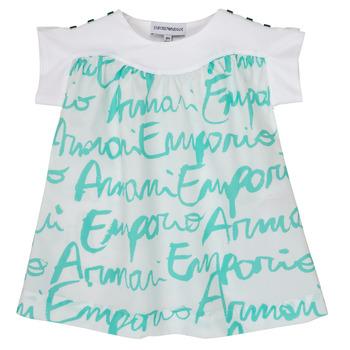 Textil Dívčí Trička s krátkým rukávem Emporio Armani Anas Bílá / Modrá