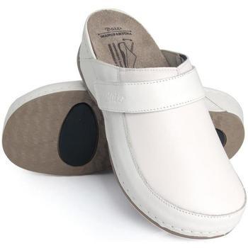 Boty Ženy Pantofle Batz Dámske kožené biele šľapky ELENA biela
