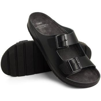 Boty Muži Dřeváky Batz Pánske kožené čierne šľapky ZENO čierna