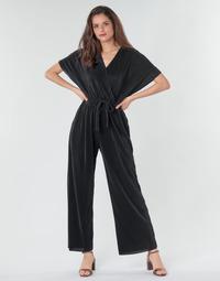 Textil Ženy Overaly / Kalhoty s laclem Moony Mood CLOKES Černá