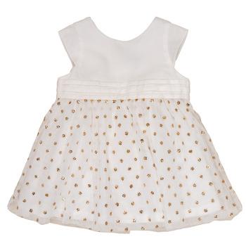 Textil Dívčí Krátké šaty Petit Bateau FAVORITE Bílá / Zlatá
