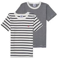 Textil Chlapecké Trička s krátkým rukávem Petit Bateau 53333 Bílá / Modrá