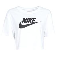 Textil Ženy Trička s krátkým rukávem Nike W NSW TEE ESSNTL CRP ICN FTR Bílá / Černá