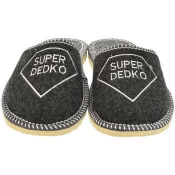 Boty Muži Papuče Bins Pánske sivé papuče SUPER DEDKO tmavosivá