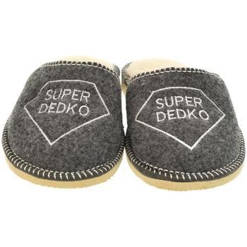 Boty Muži Papuče Bins Pánske sivé papuče DEDKO20 tmavosivá