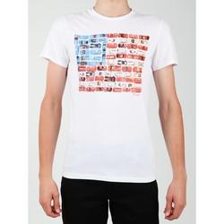 Textil Muži Trička s krátkým rukávem Wrangler S/S Modern Flag Tee W7A45FK12 white