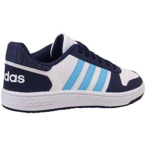 Boty Děti Nízké tenisky adidas Originals Hoops 20 K Bílé, Tmavomodré