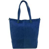 Taška Ženy Kabelky  Borse In Pelle Kožená velká modrá broušená praktická dámská kabelka modrá