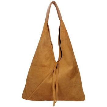 Taška Ženy Tašky přes rameno Borse In Pelle Kožená velká dámská kabelka Alma hnědá koňak hnědá