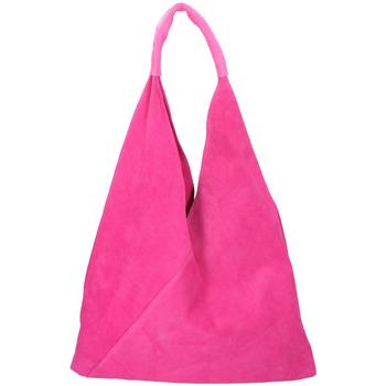 Taška Ženy Tašky přes rameno Borse In Pelle Kožená velká dámská kabelka Alma fuchsiová růžová