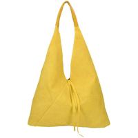 Taška Ženy Kabelky  Borse In Pelle Kožená velká dámská kabelka Alma žlutá Žlutá