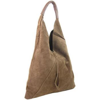 Taška Ženy Tašky přes rameno Borse In Pelle Kožená velká dámská kabelka Alma pudrová růžová