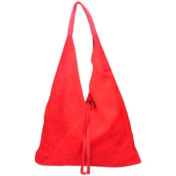 Taška Ženy Tašky přes rameno Borse In Pelle Kožená velká dámská kabelka Alma červená červená