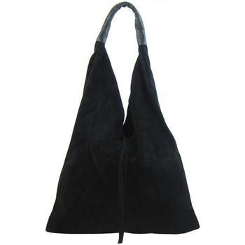 Taška Ženy Tašky přes rameno Borse In Pelle Kožená velká dámská kabelka Alma černá černá
