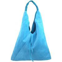 Taška Ženy Tašky přes rameno Borse In Pelle Kožená velká dámská kabelka Alma světle modrá modrá