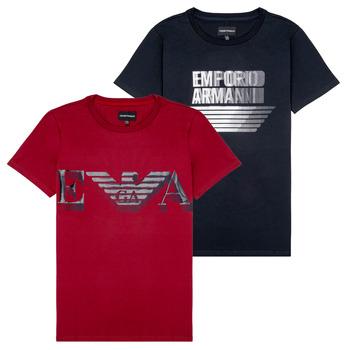 Textil Chlapecké Trička s krátkým rukávem Emporio Armani 6H4D22-4J09Z-0353 Černá / Červená