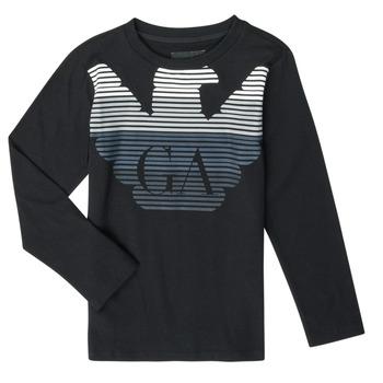 Textil Chlapecké Trička s dlouhými rukávy Emporio Armani 6H4T17-1J00Z-0999 Černá