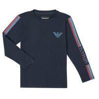 Textil Chlapecké Trička s dlouhými rukávy Emporio Armani 6H4TJD-1J00Z-0920 Tmavě modrá