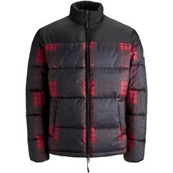 Textil Muži Bundy Jack & Jones 12157783 JORCALL PUFFER JACKET BLACK CHECKED Negro