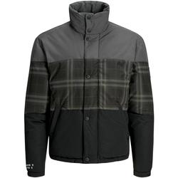 Textil Muži Bundy Jack & Jones 12161841 JCONOAH SHORT PUFFER ASPHALT CHECKED Gris