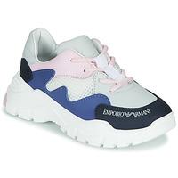 Boty Chlapecké Nízké tenisky Emporio Armani  Bílá / Modrá