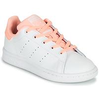 Boty Dívčí Nízké tenisky adidas Originals STAN SMITH C Bílá / Růžová