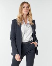 Textil Ženy Saka / Blejzry Karl Lagerfeld PUNTO JACKET W/ SATIN LAPEL Tmavě modrá / Černá