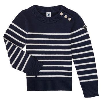 Textil Děti Svetry Petit Bateau LOX Tmavě modrá / Bílá
