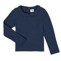 Textil Dívčí Trička s dlouhými rukávy Petit Bateau LOVING Tmavě modrá