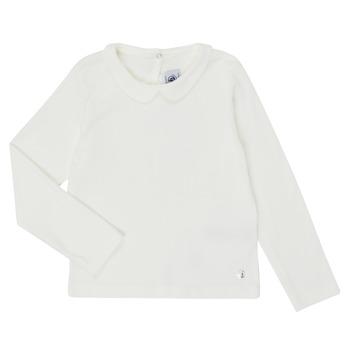 Textil Dívčí Trička s dlouhými rukávy Petit Bateau LOVING Bílá