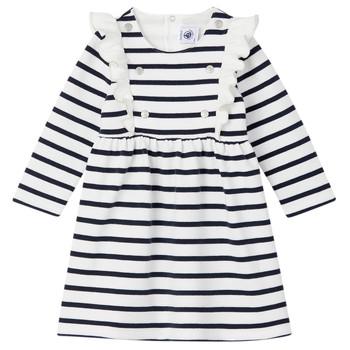Textil Dívčí Krátké šaty Petit Bateau LEVRIER Bílá / Tmavě modrá