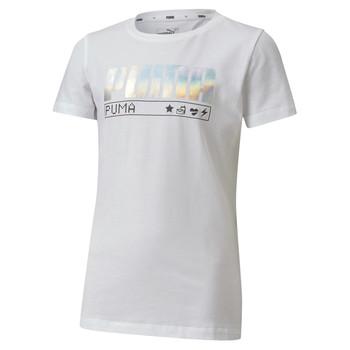 Textil Dívčí Trička s krátkým rukávem Puma ALPHA TEE Bílá
