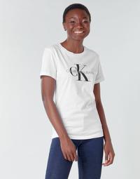 Textil Ženy Trička s krátkým rukávem Calvin Klein Jeans CORE MONOGRAM LOGO REG FIT Bílá