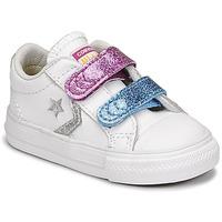 Boty Dívčí Nízké tenisky Converse STAR PLAYER 2V GLITTER TEXTILE OX Bílá / Modrá / Růžová