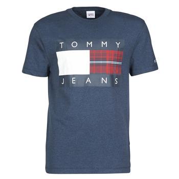 Textil Muži Trička s krátkým rukávem Tommy Jeans TJM PLAID CENTRE FLAG TEE Tmavě modrá