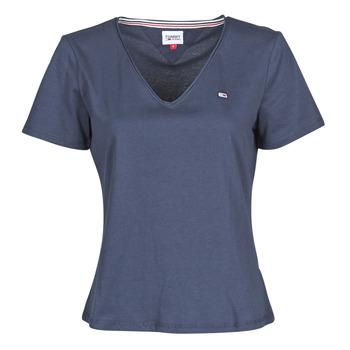 Textil Ženy Trička s krátkým rukávem Tommy Jeans TJW SLIM JERSEY V NECK Tmavě modrá