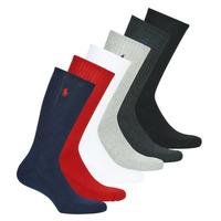 Doplňky  Muži Ponožky Polo Ralph Lauren ASX110 6 PACK COTTON Černá / Červená / Tmavě modrá / Šedá / Šedá / Bílá