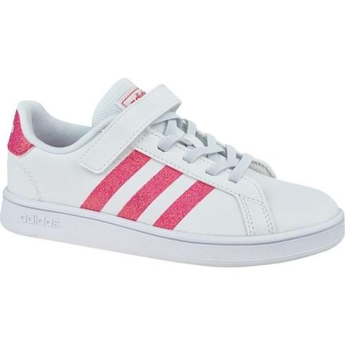 Boty Dívčí Nízké tenisky adidas Originals Grand Court K Bílé, Růžové
