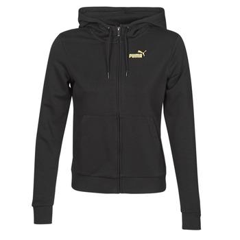 Textil Ženy Teplákové bundy Puma METALLIC FZ HOODY TR Černá / Zlatá
