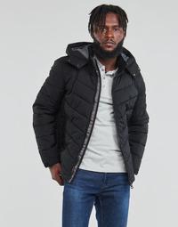 Textil Muži Prošívané bundy Guess STRETCH PUFFA HOODED Černá